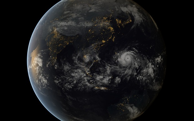 A digital composite of Typhoon Haiyan approaching the Philippines, using im