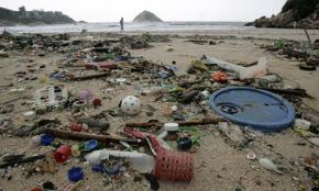 Microbead marine pollution : Plastics pollution is washed up on the beach in Shek O in Hong Kong
