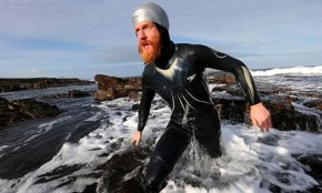Sean Conway arrives at John O'Groats after being the first person to swim the length of the UK