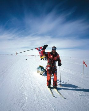 Børge Ousland arriving triumphant at Scott Base on Ross Island after crossing Antarctica